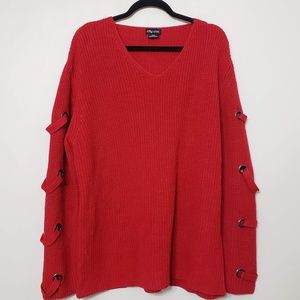 City Chic Red Embellished Sleeve Red Sweater sz 18